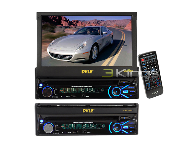 Pyle - 7'' Touch Screen Motorized Detachable TFT/LCD Monitor With DVD/CD/MP3/AM/FM Receiver