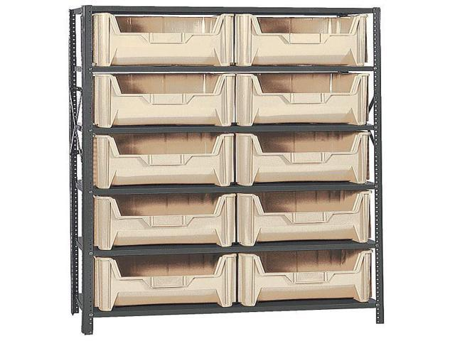 Quantum 6 Shelf Giant Open Hopper Stack Container 10 QGH700 Bin Storage Center Ivory