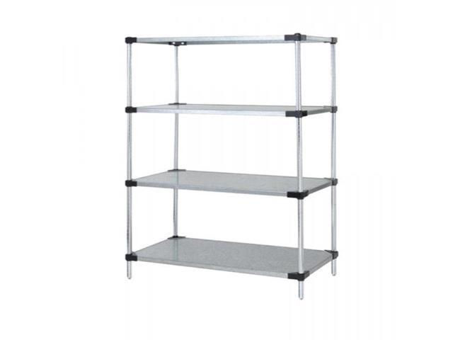 Quantum Solid Shelving 4-Shelf Starter Units Storage Rack Galvanized Steel 24