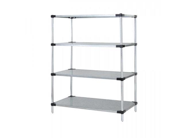 Quantum Solid Shelving 4-Shelf Starter Units Storage Rack Galvanized Steel 21