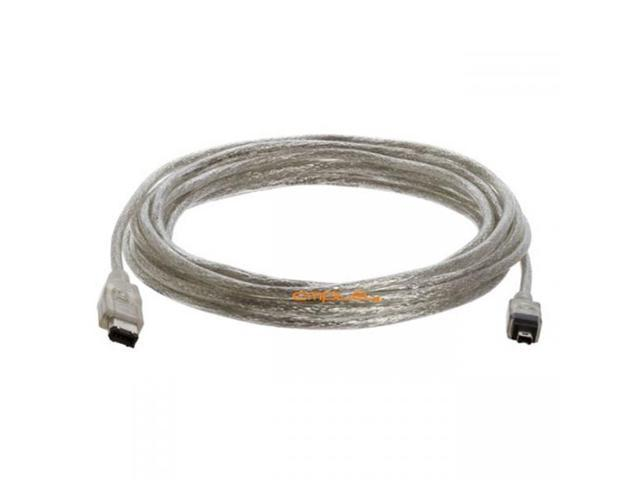 Cmple IEEE 1394 FireWire iLink DV Cable 6P 4P M/M 15FT (Clear)