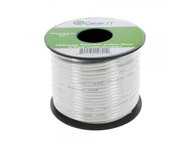GearIT Pro Series 12 AWG Gauge Speaker Wire Cable, 100 Feet (White)