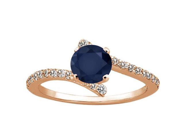 1.31 Ct Round Blue Sapphire White Diamond 18K Rose Gold Plated Silver Ring