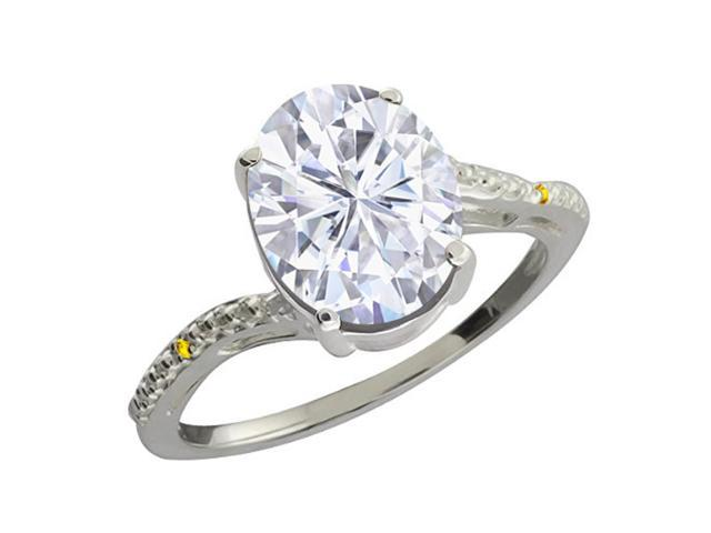 2.74 Ct Oval White Created Moissanite Yellow Sapphire 18K White Gold Ring