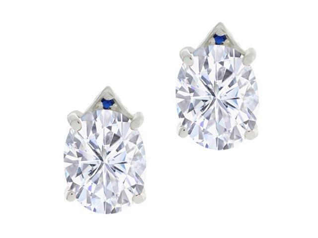 5.46 Ct White Created Moissanite Blue Simulated Sapphire 14K White Gold Earrings