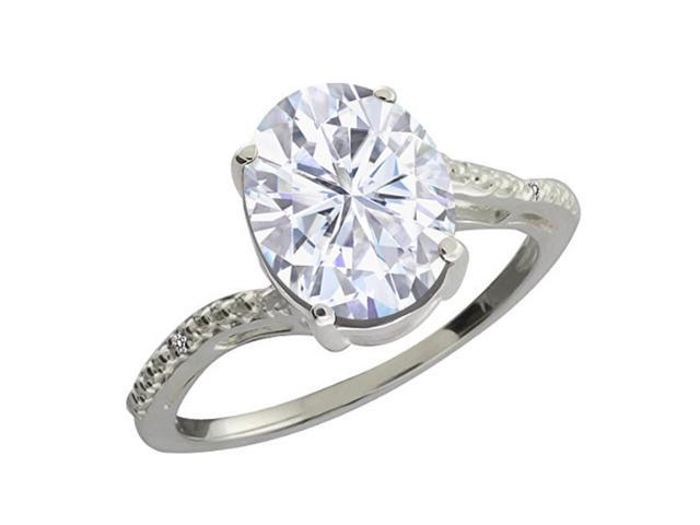 2.73 Ct Oval White Created Moissanite White Diamond 10K White Gold Ring