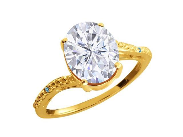 2.73 Ct White Created Moissanite Swiss Blue Simulated Topaz 18K Yellow Gold Ring