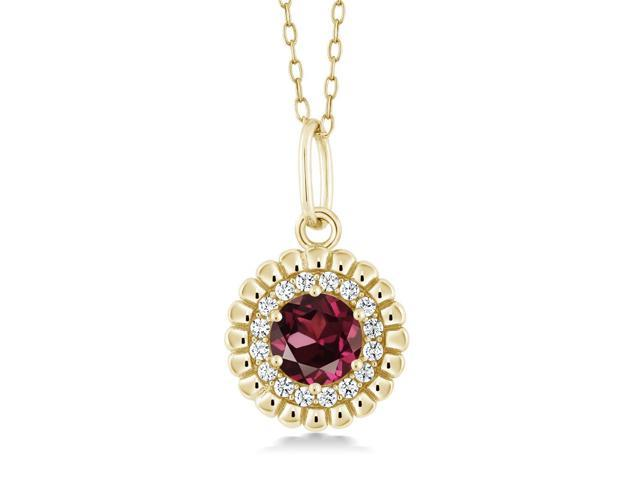 0.68 Ct Red Rhodolite Garnet 18K Yellow Gold Plated Silver Pendant