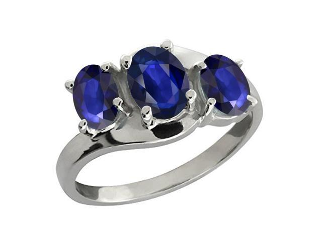 1.47 Ct Oval Blue Sapphire 14K White Gold 3-Stone Ring