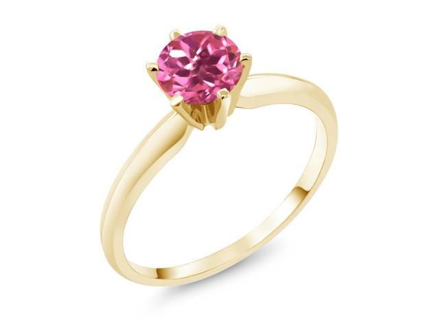 1.00 Ct  Pink Mystic Topaz 14K Yellow Gold Engagement Solitaire Ring