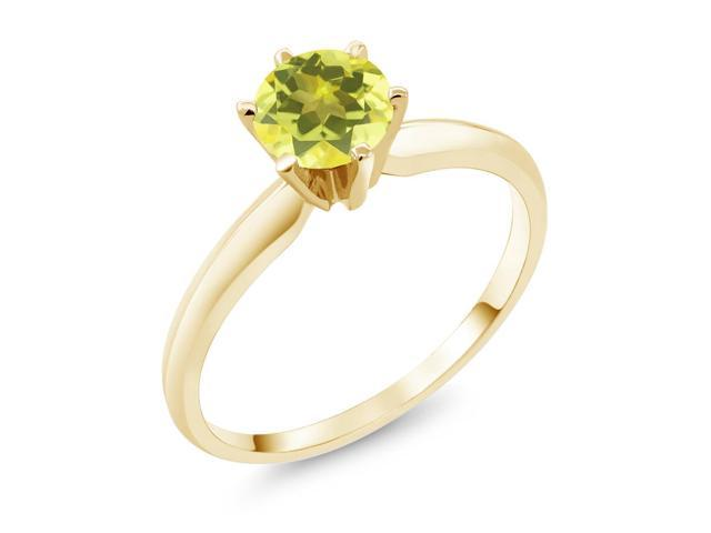 1.00 Ct  Canary Mystic Topaz 14K Yellow Gold Engagement Solitaire Ring