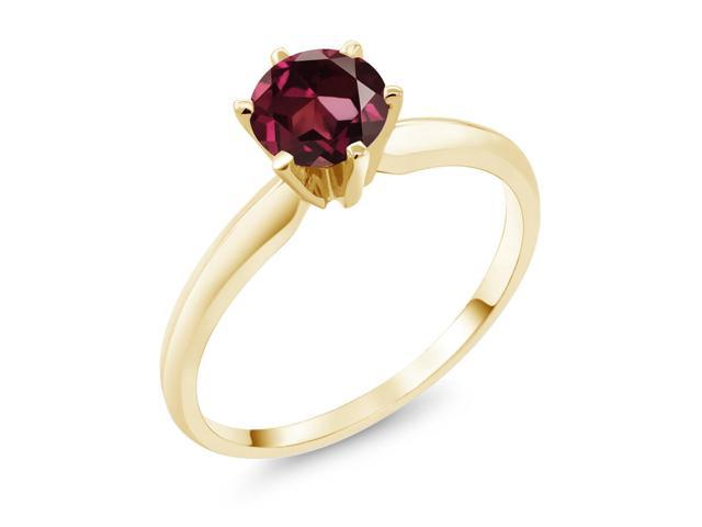 1.00 Ct  Red Rhodolite Garnet 14K Yellow Gold Engagement Solitaire Ring