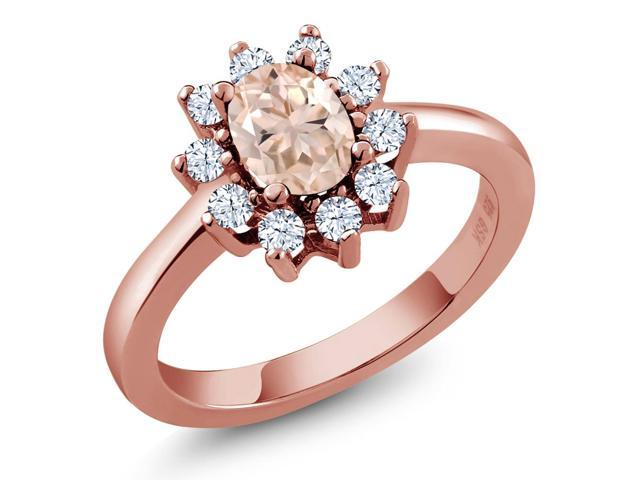 0.95 Ct Oval Peach Morganite 14K Rose Gold Ring
