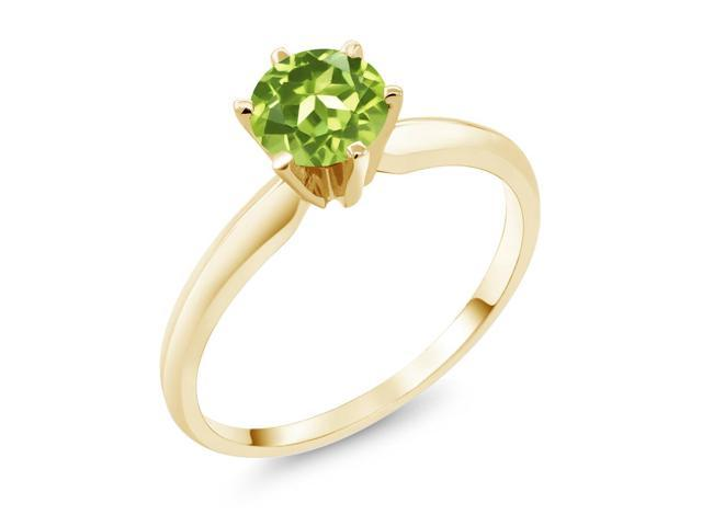 0.85 Ct  Green Peridot 14K Yellow Gold Engagement Solitaire Ring