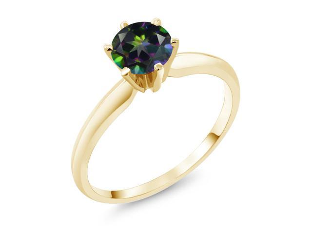 1.00 Ct  Green Mystic Topaz 14K Yellow Gold Engagement Solitaire Ring