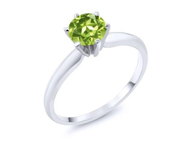 0.85 Ct Green Peridot 14K White Gold Engagement Solitaire Ring