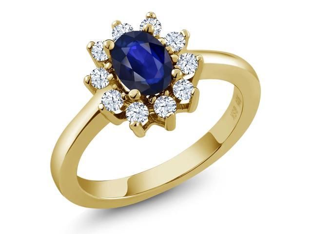 0.97 Ct Oval Blue Sapphire White Topaz 14K Yellow Gold Ring
