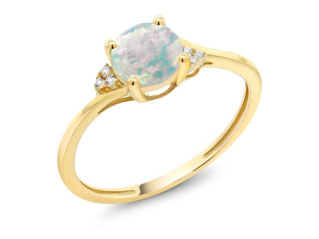 10K Yellow Gold Diamond Accent Engagement Ring Set with 6mm 0.35 Ct Cabochon White Simulated Opal