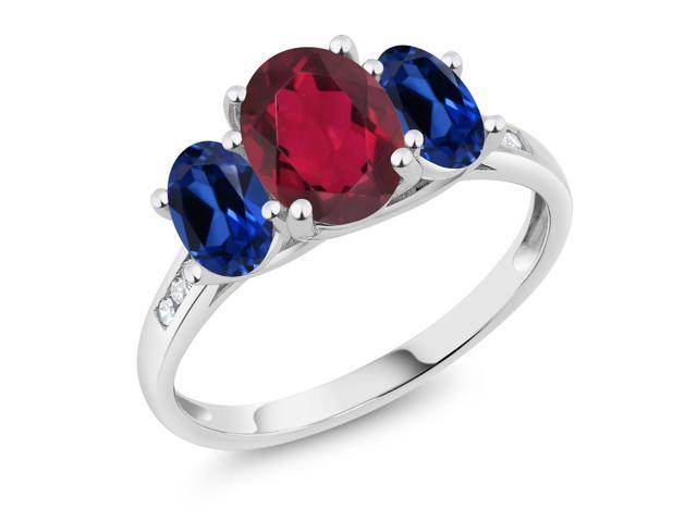 10K White Gold 2.30 Ct Red Mystic Topaz Blue Simulated Sapphire 3-Stone Ring