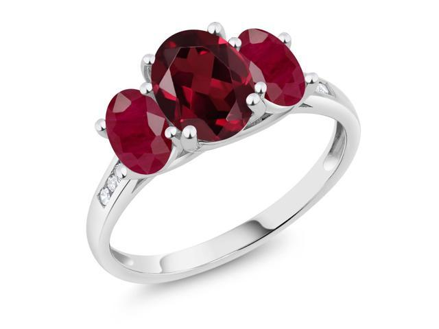 10K White Gold 2.55 Ct Oval Red Rhodolite Garnet Red Ruby 3-Stone Ring