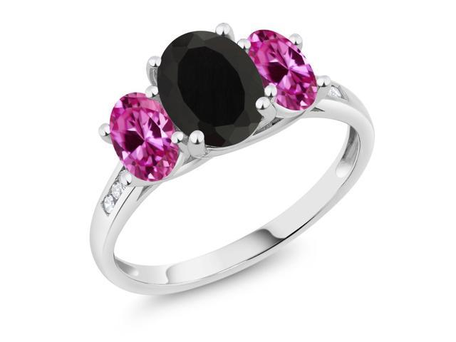 10K White Gold 2.25 Ct Oval Black Onyx Pink Created Sapphire 3-Stone Ring