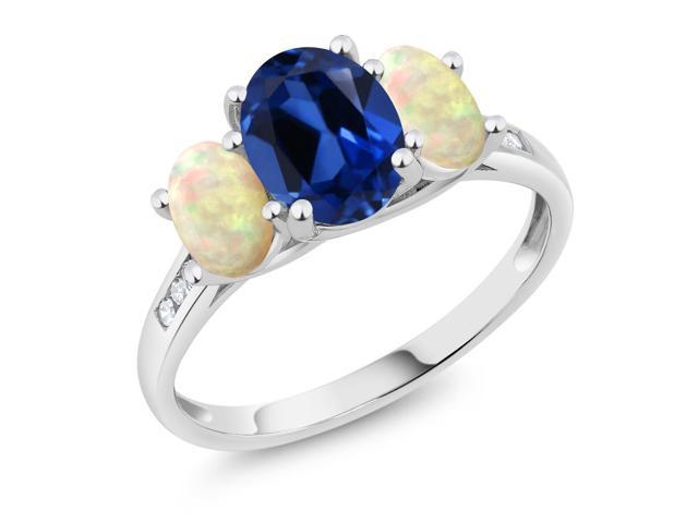 10K White Gold 2.24 Ct Blue Simulated Sapphire White Ethiopian Opal 3-Stone Ring