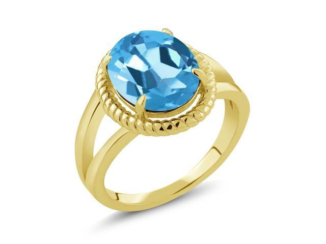 4.00 Ct Oval Swiss Blue Topaz 18K Yellow Gold Plated Silver Ring