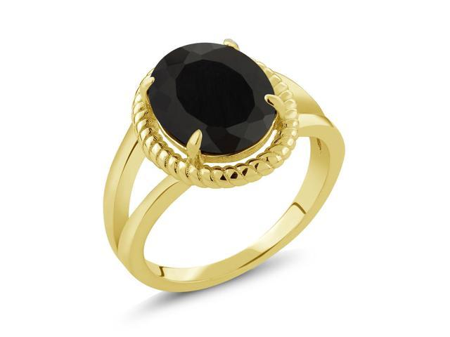 3.00 Ct Oval Black Onyx 18K Yellow Gold Plated Silver Ring