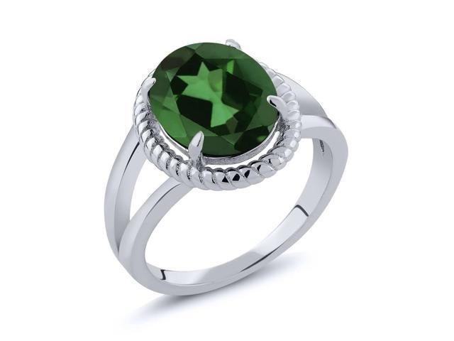 3.60 Ct Oval Green Mystic Quartz 925 Sterling Silver Ring