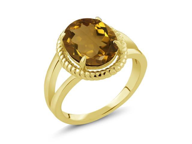 3.00 Ct Oval Whiskey Quartz 18K Yellow Gold Plated Silver Ring