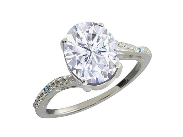 2.73 Ct White Created Moissanite Swiss Blue Simulated Topaz 14K White Gold Ring