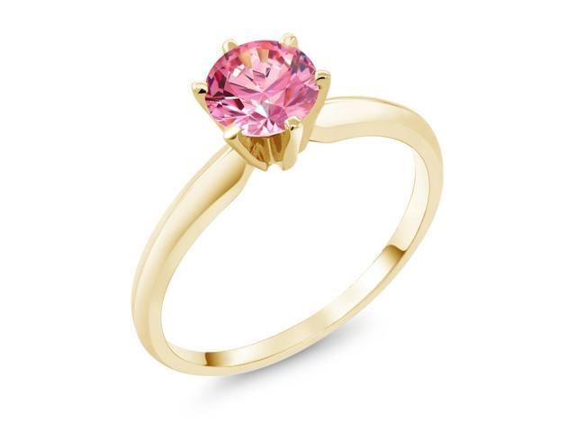0.84 Ct Fancy Pink 14K Yellow Gold Engagement Solitaire Ring  Made With Swarovski Zirconia