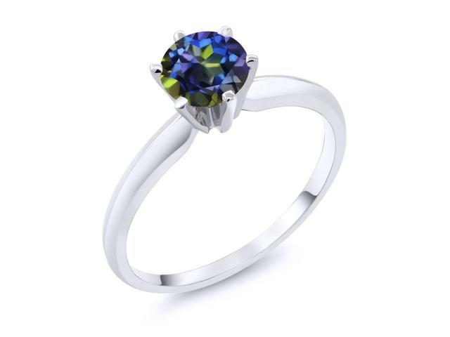 1.00 Ct  Blue Mystic Topaz 14K White Gold Engagement Solitaire Ring