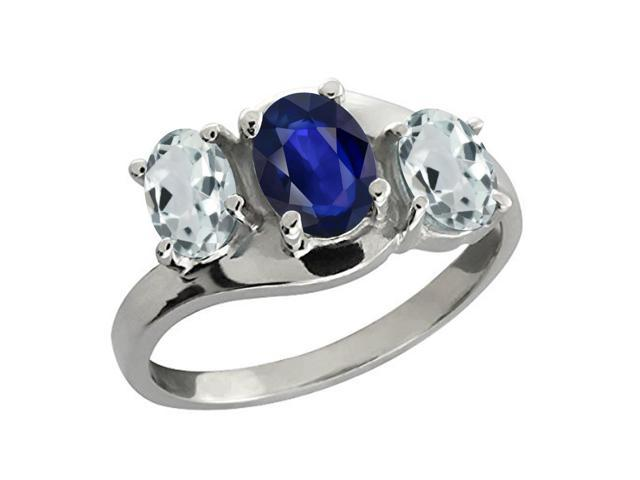 1.43 Ct Oval Blue Sapphire Sky Blue Aquamarine 14K White Gold 3-Stone Ring
