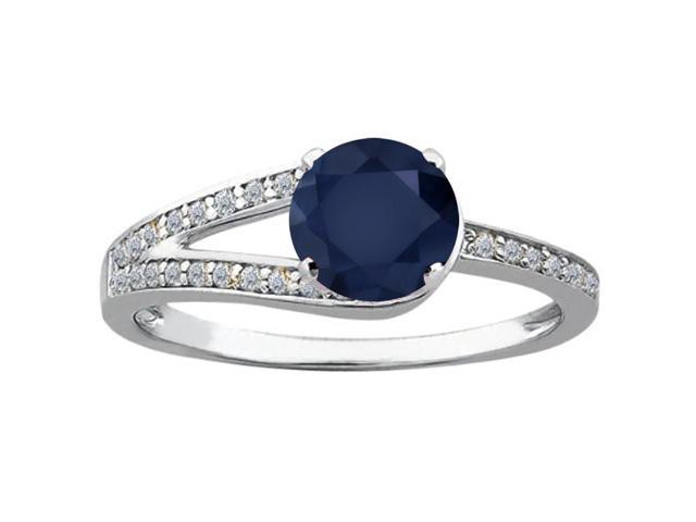 1.24 Ct Round Blue Sapphire White Diamond 925 Sterling Silver Ring