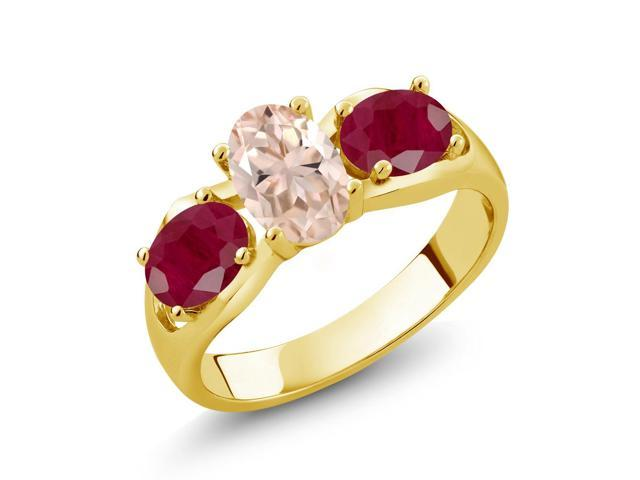 1.85 Ct Oval Peach Morganite Red Ruby 18K Yellow Gold Plated Silver 3-Stone Ring