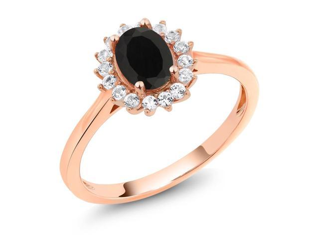 10K Rose Gold 1.04 Ct Oval Black Onyx White Created Sapphire Ring