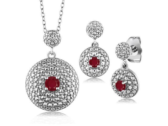 0.60 Ct Round Red Ruby with Diamond Accent Rhodium Plated Pendant Earrings Set