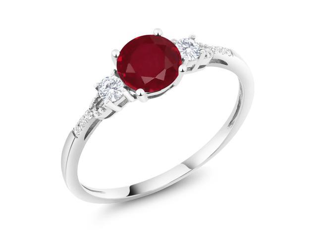 Diamond Accent 10K White Gold Round Red Ruby White Created Sapphire Ring 1.15 cttw