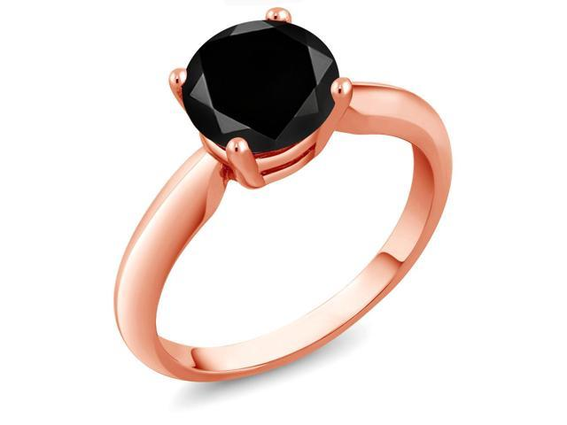 2.20 Ct Round Black Diamond 18K Rose Gold Plated Silver Ring