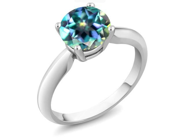 2.00 Ct Round Millennium Blue Mystic Topaz 14K White Gold Ring