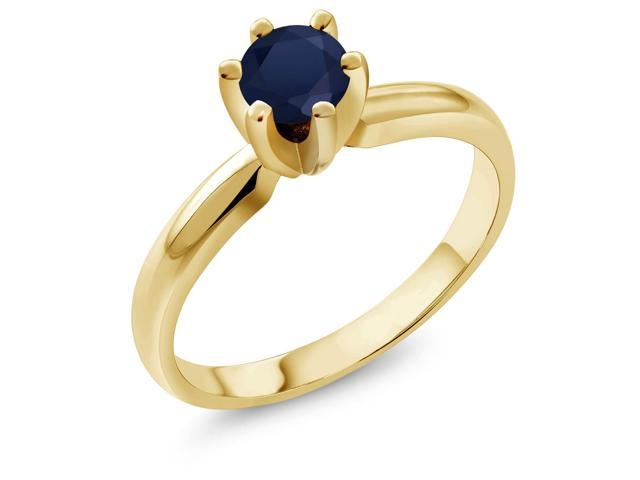 0.60 Ct Round Blue Sapphire 18K Yellow Gold Plated Silver Ring