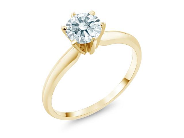 0.84 Ct White 14K Yellow Gold Engagement Solitaire Ring Made With Swarovski Zirconia