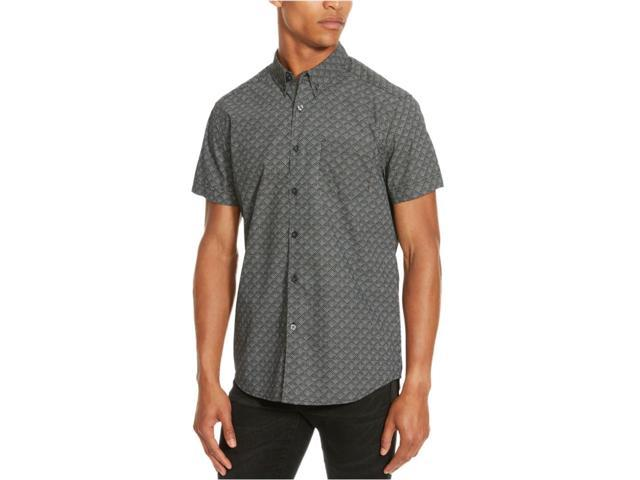 Kenneth Cole Mens Rough Diamond Button Up Shirt 093blackcombo S