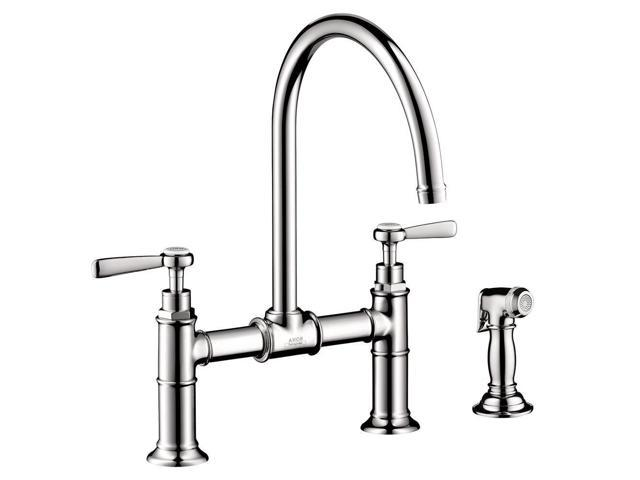 Hansgrohe 16818001 Axor Montreux 2 Handle Side Sprayer Kitchen Faucet In Chrome And Bridge Model