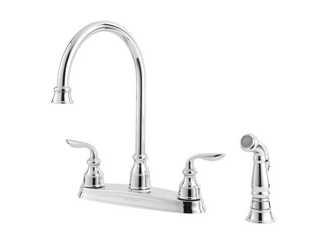 Pfister GT36-4CBC Avalon 2 Handle 4-Hole Lead Free Kitchen Faucet w/ Sidespray, Polish Chrome