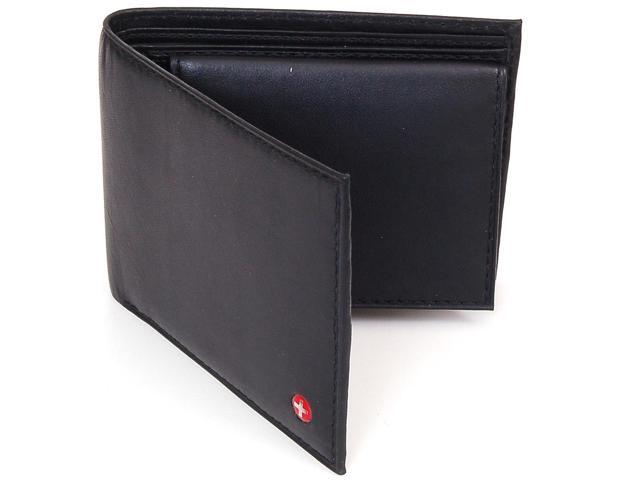 Alpine Swiss ASW135-Blk Men's Leather Wallet Bifold Removable ID Card Case