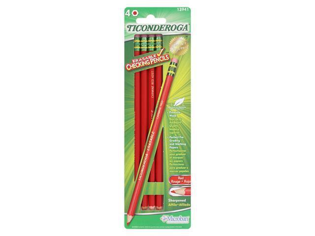 Ticonderoga Erasable Checking Pencils, Eraser Tipped, Pre-Sharpened, Set of 4, Red (13941)