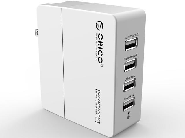 ORICO 34W DCX-4U 6.8A 4-Port Portable Travel Wall USB Charger with Foldable Plug for iPhone 6s / 6 / 6 plus, iPad Air 2 / mini 3, Samsung Galaxy S6 Edge / Note 5, HTC M9, Nexus and More - White