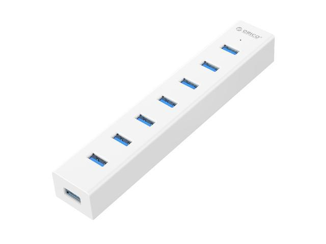 ORICO Super Speed USB 3.0 7 Port Hub with 3.3Ft. Power Cord and Data Cable for iPhone 5s 6 6s Sumsung Galaxy Windows Mac PC Laptop - (H7013-U3-V1) White